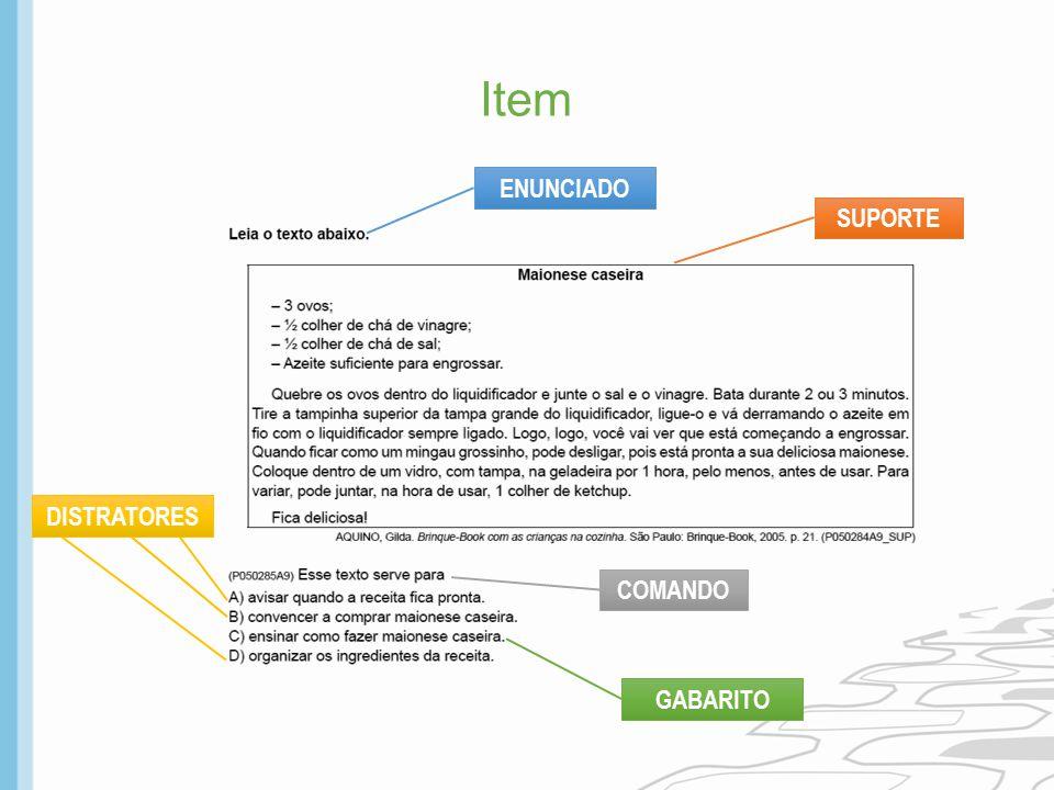 Item ENUNCIADO SUPORTE DISTRATORES COMANDO GABARITO