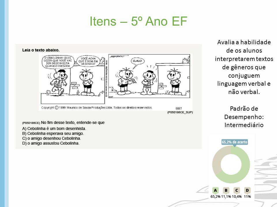 Itens – 5º Ano EF Avalia a habilidade de os alunos interpretarem textos de gêneros que conjuguem linguagem verbal e não verbal.