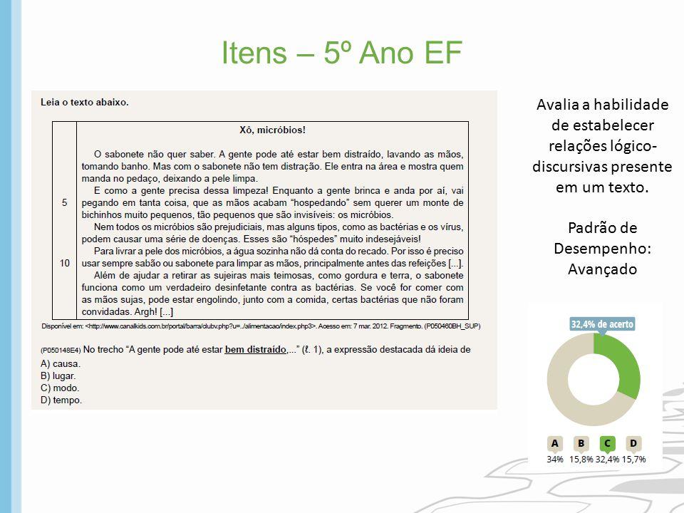 Itens – 5º Ano EF Avalia a habilidade de estabelecer relações lógico-discursivas presente em um texto.