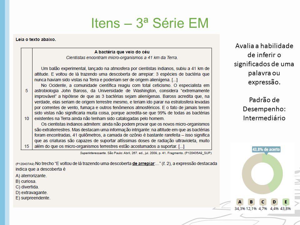 Itens – 3ª Série EM Avalia a habilidade de inferir o significados de uma palavra ou expressão. Padrão de Desempenho: