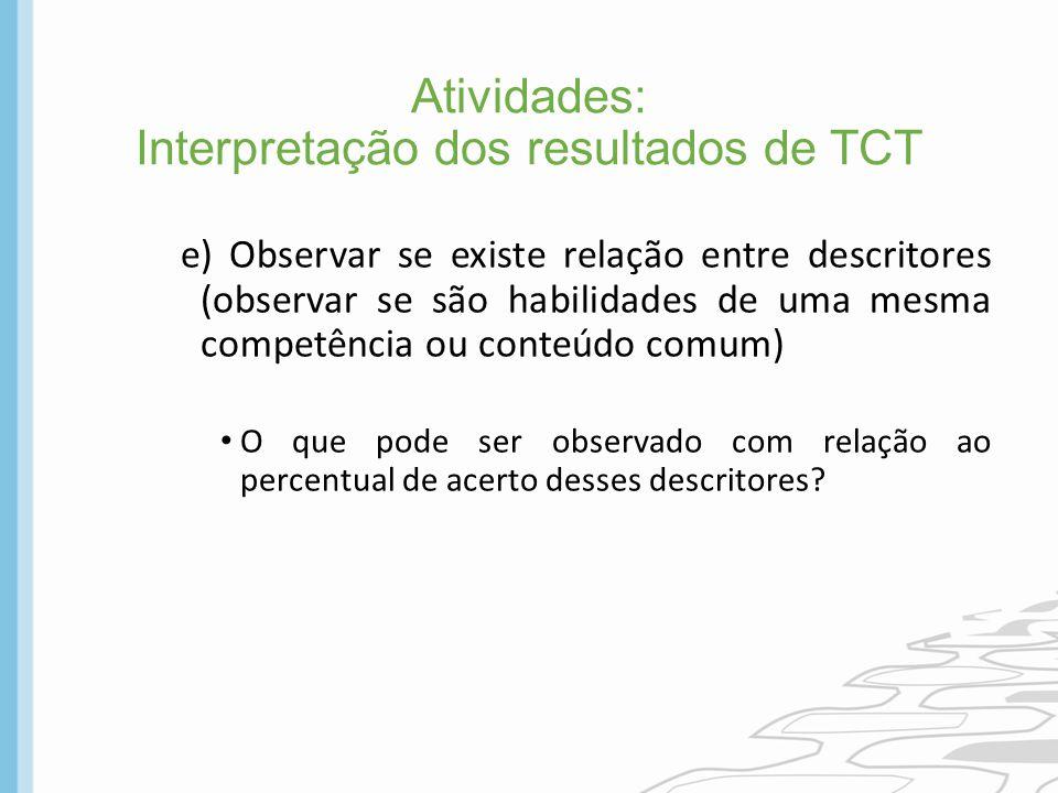 Atividades: Interpretação dos resultados de TCT
