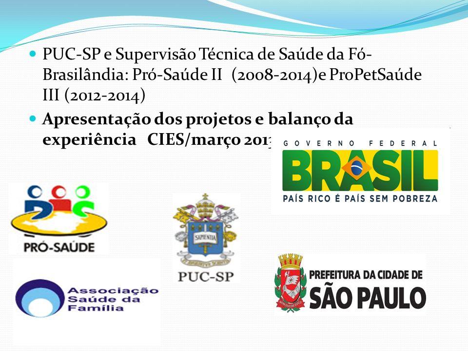 PUC-SP e Supervisão Técnica de Saúde da Fó-Brasilândia: Pró-Saúde II (2008-2014)e ProPetSaúde III (2012-2014)