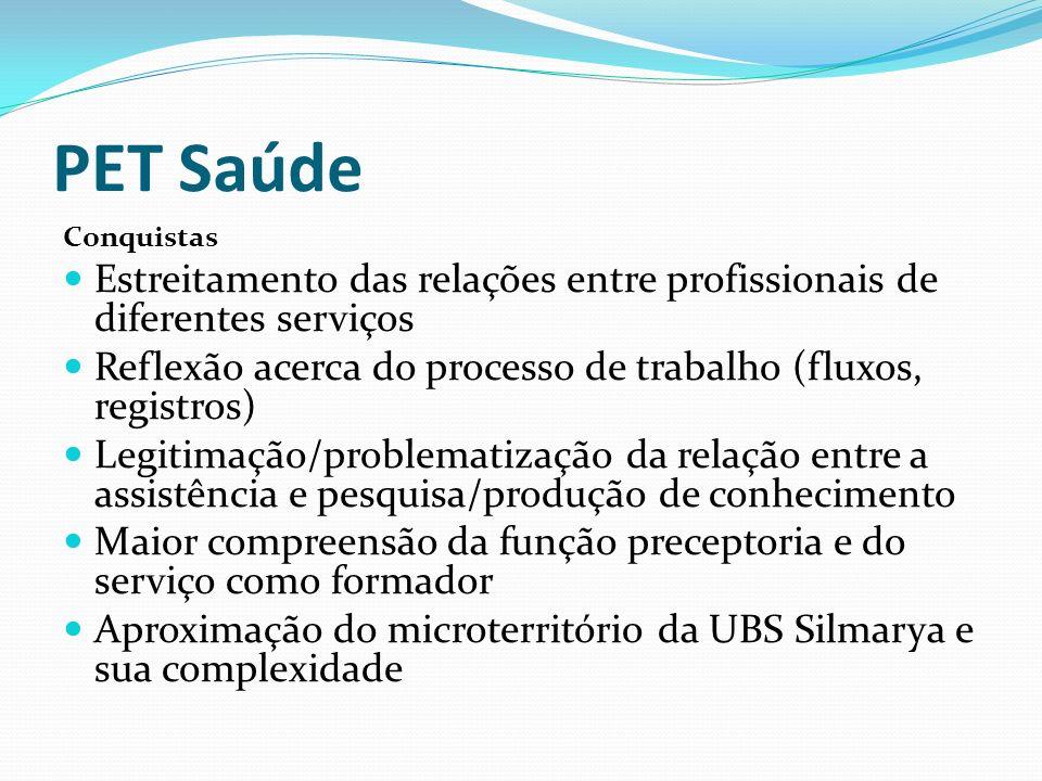 PET Saúde Conquistas. Estreitamento das relações entre profissionais de diferentes serviços.