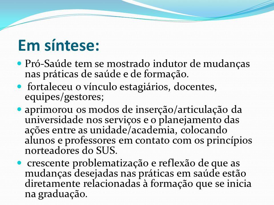 Em síntese: Pró-Saúde tem se mostrado indutor de mudanças nas práticas de saúde e de formação.
