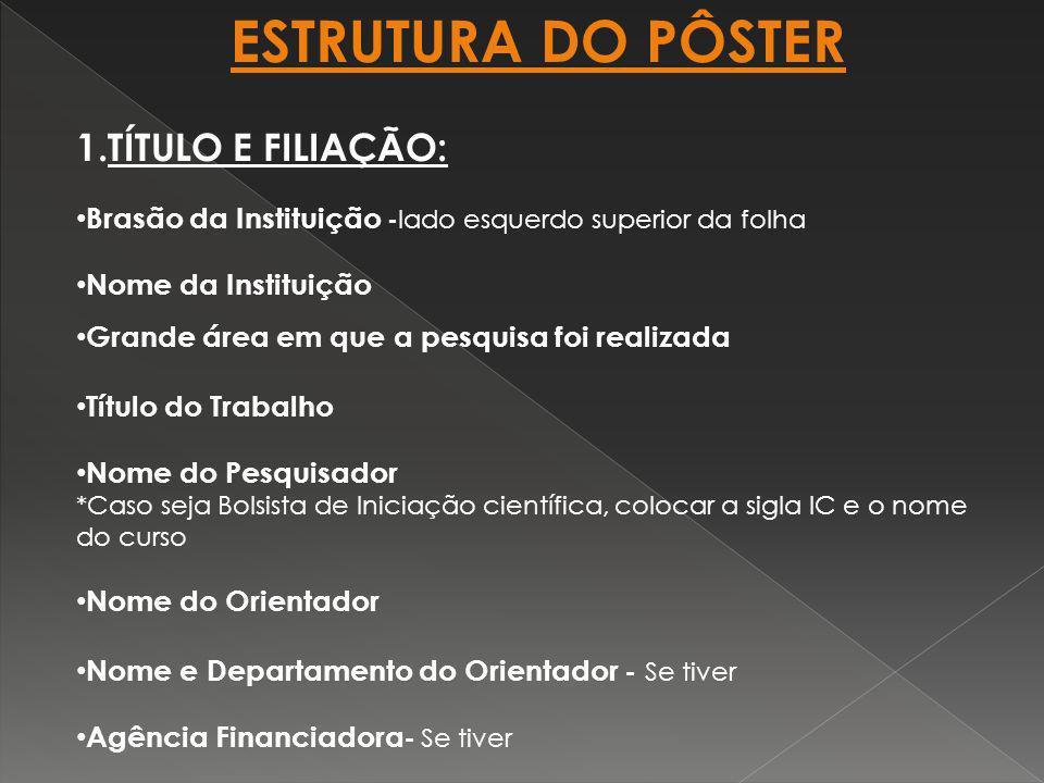 ESTRUTURA DO PÔSTER TÍTULO E FILIAÇÃO: