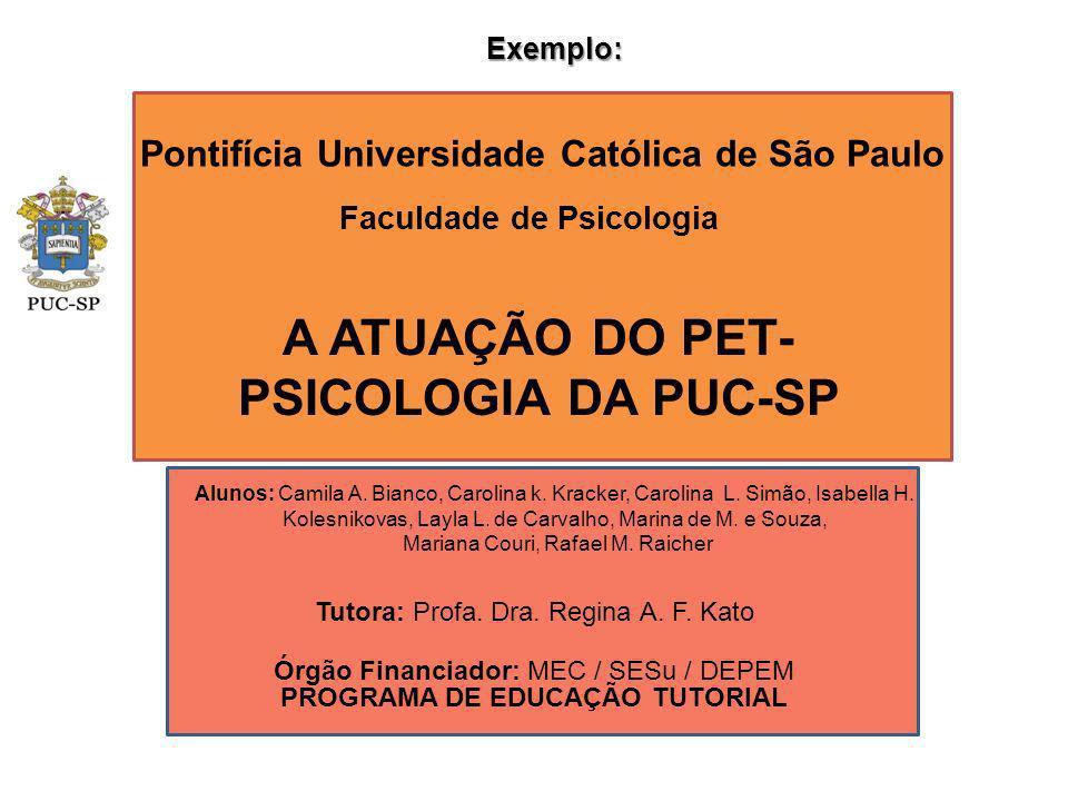 A ATUAÇÃO DO PET-PSICOLOGIA DA PUC-SP