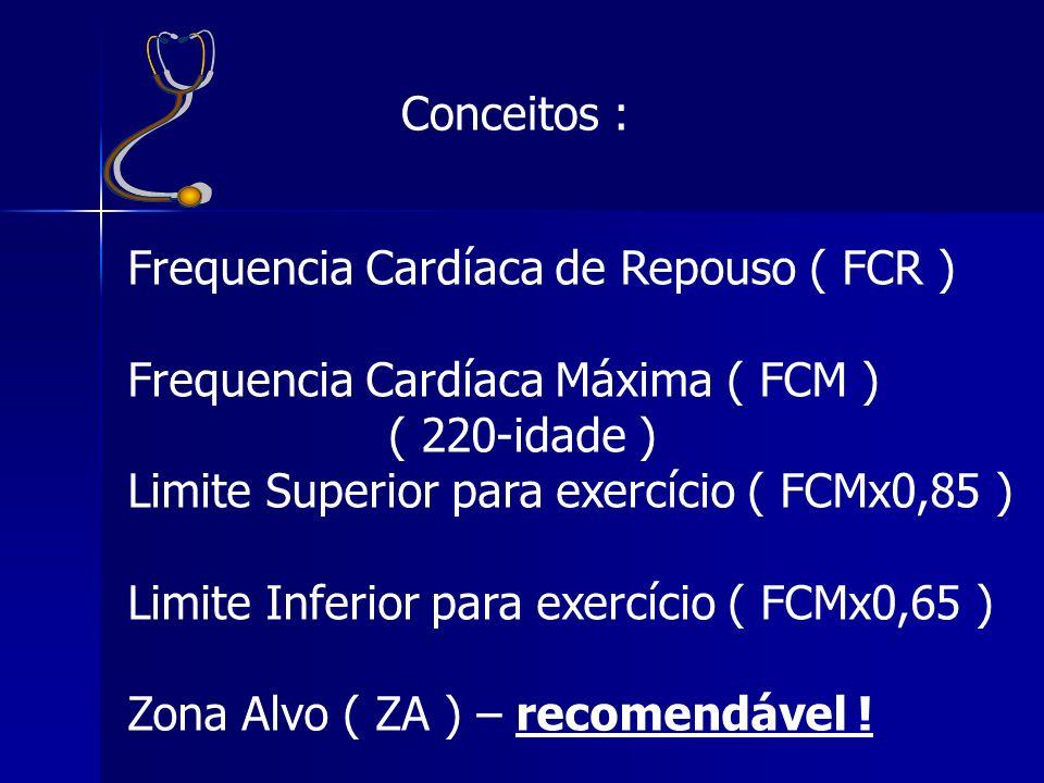 Conceitos : Frequencia Cardíaca de Repouso ( FCR ) Frequencia Cardíaca Máxima ( FCM ) ( 220-idade )