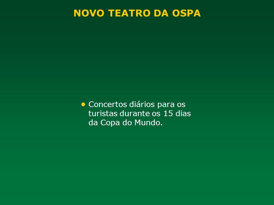 NOVO TEATRO DA OSPA • Concertos diários para os turistas durante os 15 dias da Copa do Mundo.