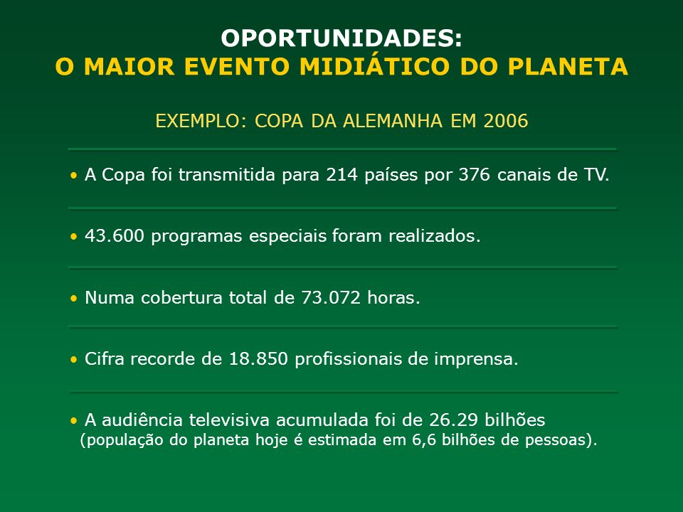 O MAIOR EVENTO MIDIÁTICO DO PLANETA