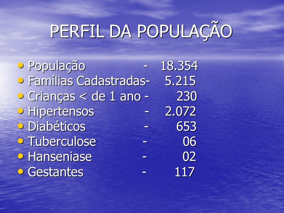PERFIL DA POPULAÇÃO População - 18.354 Famílias Cadastradas- 5.215