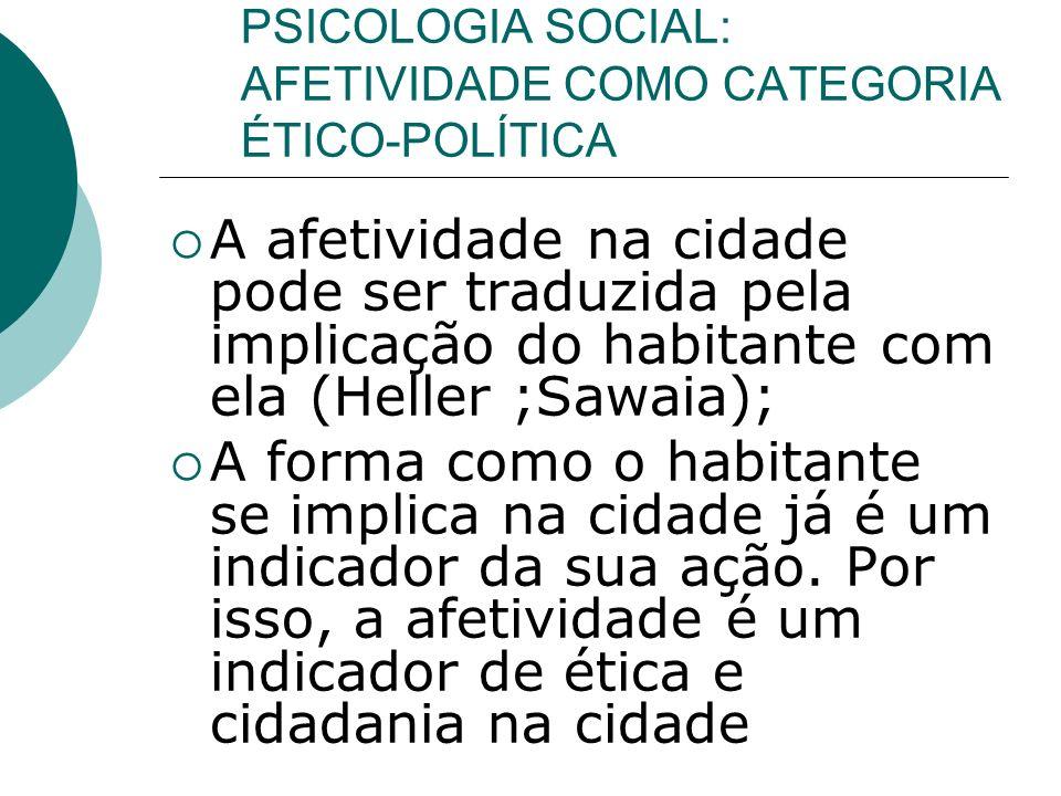 PSICOLOGIA SOCIAL: AFETIVIDADE COMO CATEGORIA ÉTICO-POLÍTICA