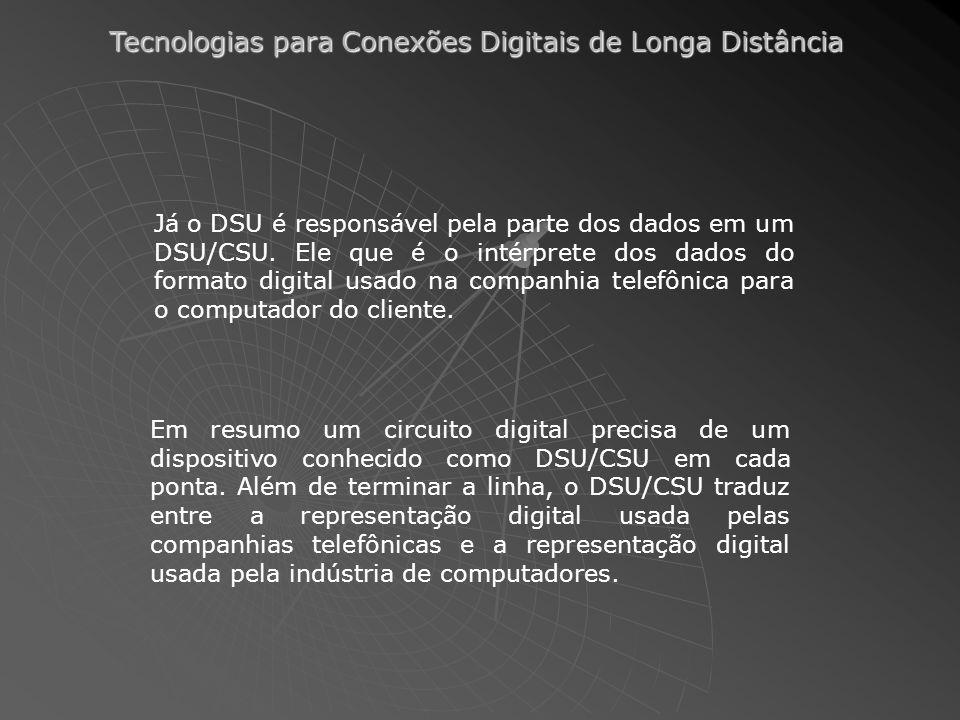 Já o DSU é responsável pela parte dos dados em um DSU/CSU