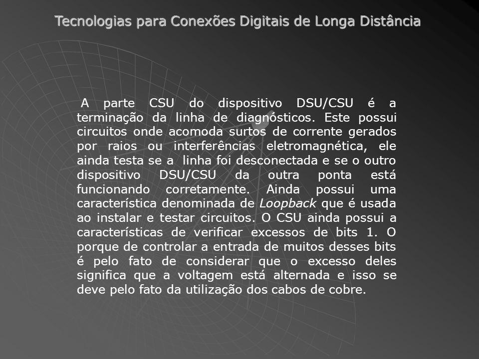 A parte CSU do dispositivo DSU/CSU é a terminação da linha de diagnósticos.