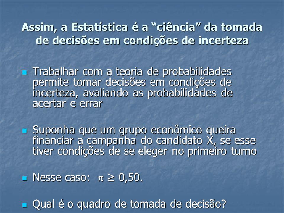 Assim, a Estatística é a ciência da tomada de decisões em condições de incerteza