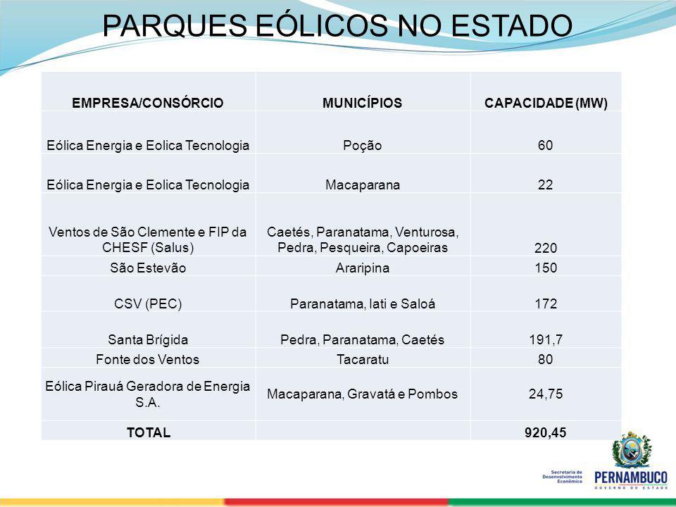 PARQUES EÓLICOS NO ESTADO