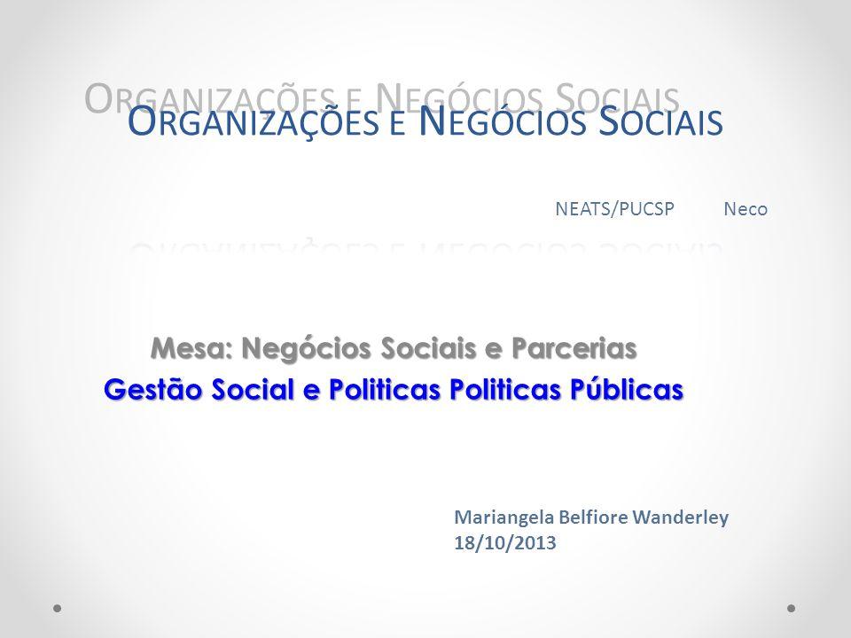 Organizações e Negócios Sociais