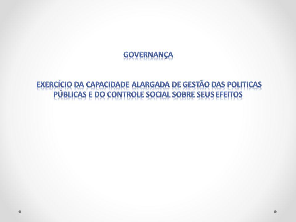 governançaexercício da capacidade alargada de gestão das politicas públicas e do controle social sobre seus efeitos.