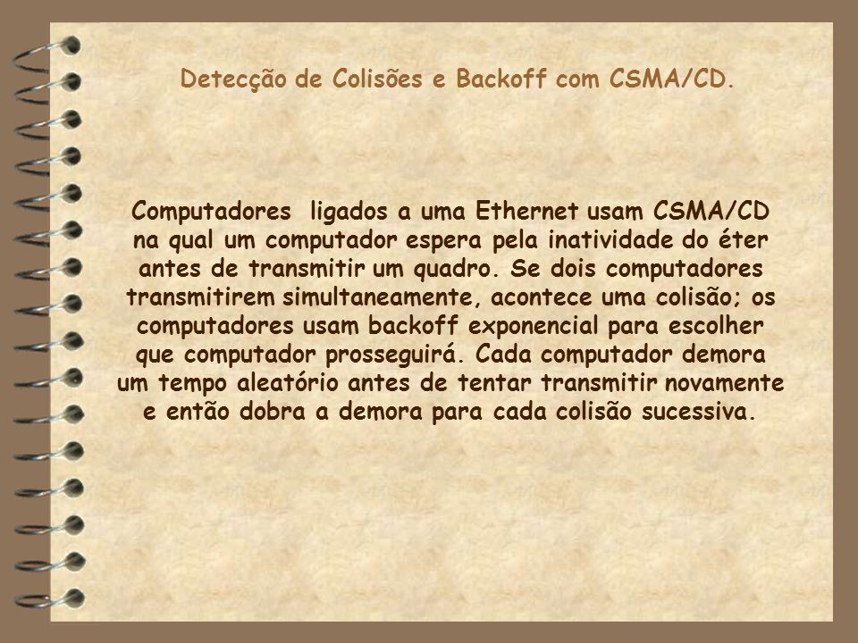 Detecção de Colisões e Backoff com CSMA/CD.