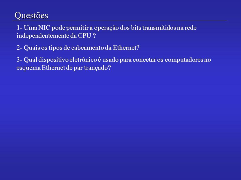 Questões 1- Uma NIC pode permitir a operação dos bits transmitidos na rede independentemente da CPU