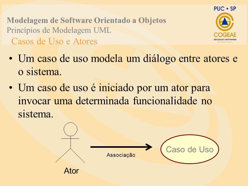 Um caso de uso modela um diálogo entre atores e o sistema.