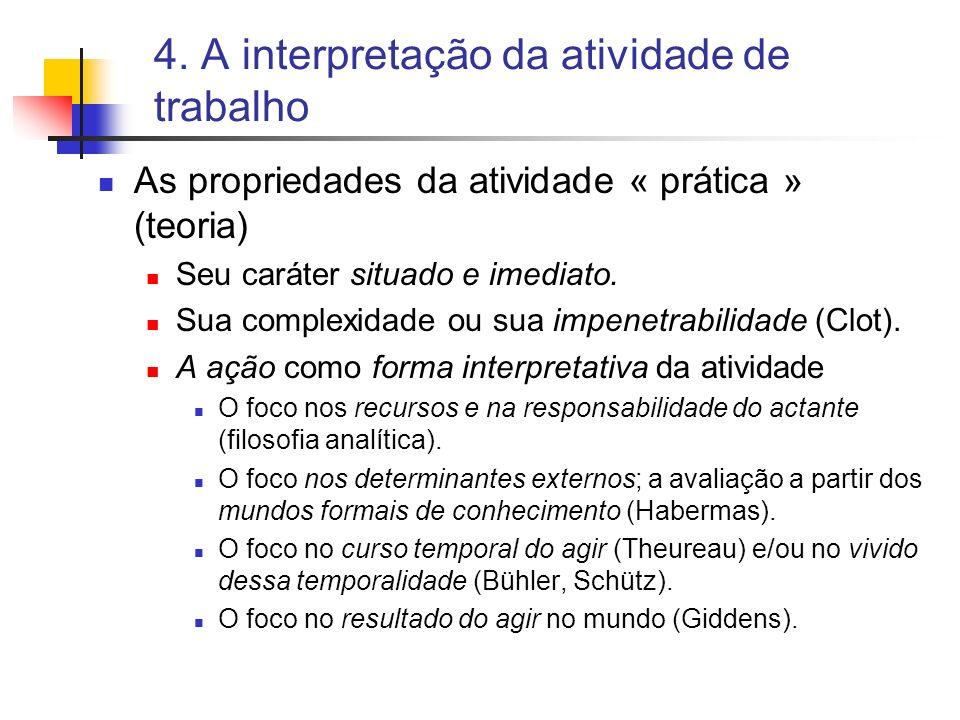 4. A interpretação da atividade de trabalho