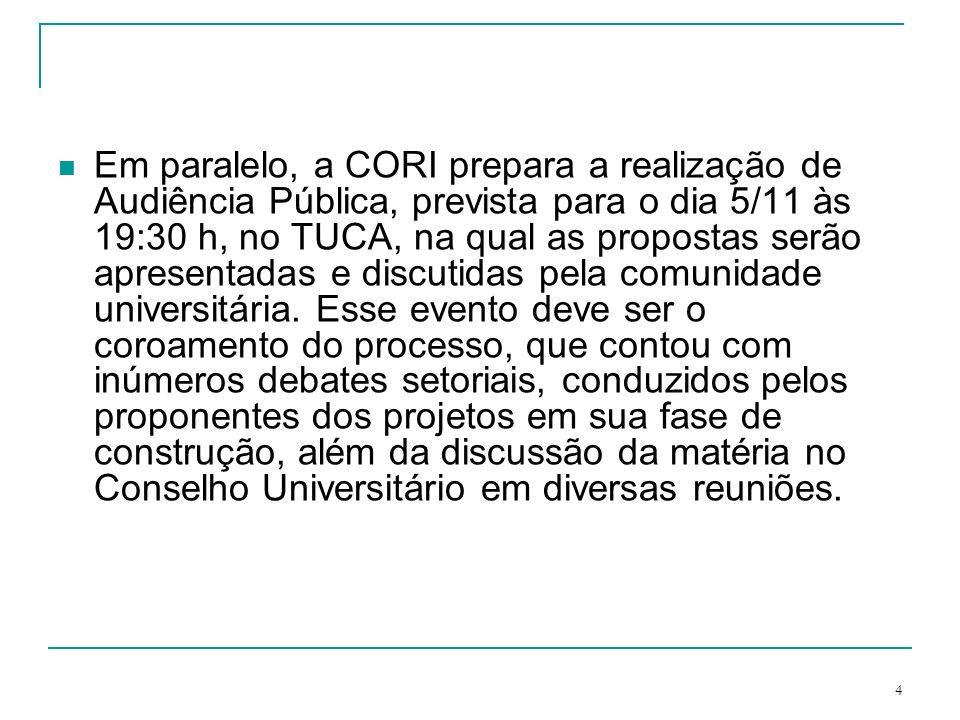 Em paralelo, a CORI prepara a realização de Audiência Pública, prevista para o dia 5/11 às 19:30 h, no TUCA, na qual as propostas serão apresentadas e discutidas pela comunidade universitária.