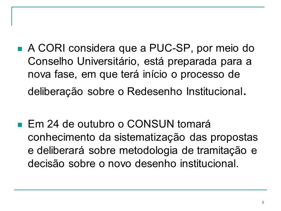 A CORI considera que a PUC-SP, por meio do Conselho Universitário, está preparada para a nova fase, em que terá início o processo de deliberação sobre o Redesenho Institucional.