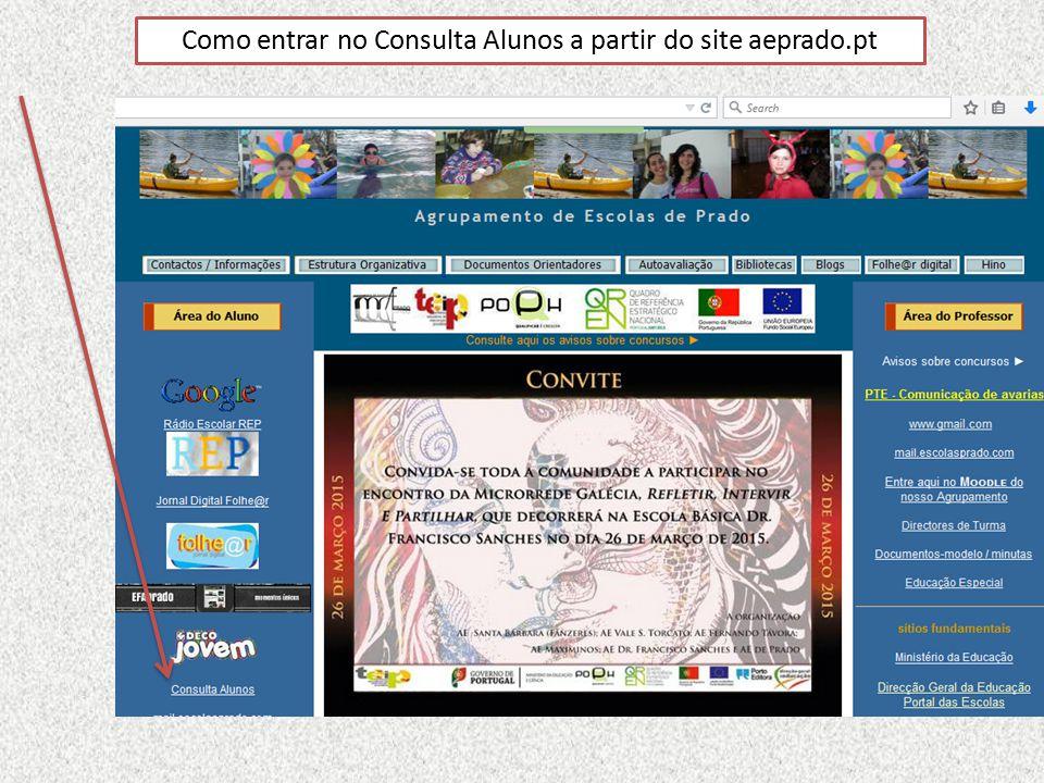 Como entrar no Consulta Alunos a partir do site aeprado.pt