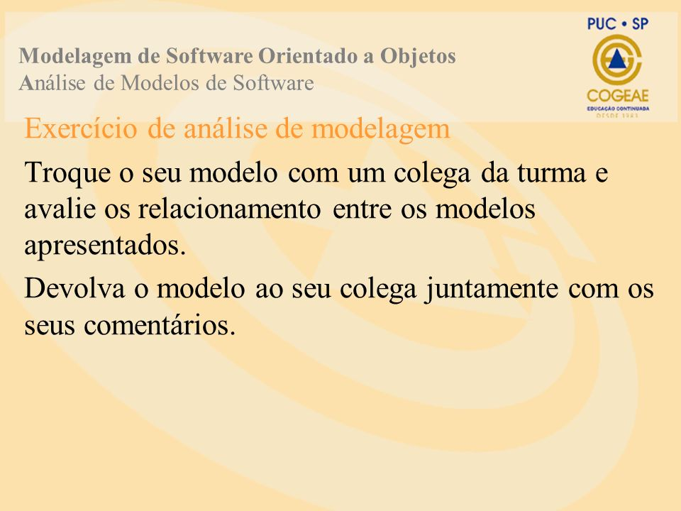 Exercício de análise de modelagem