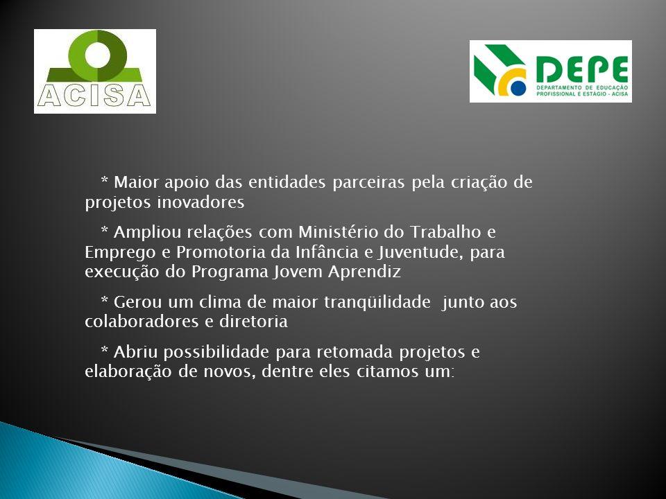 * Maior apoio das entidades parceiras pela criação de projetos inovadores