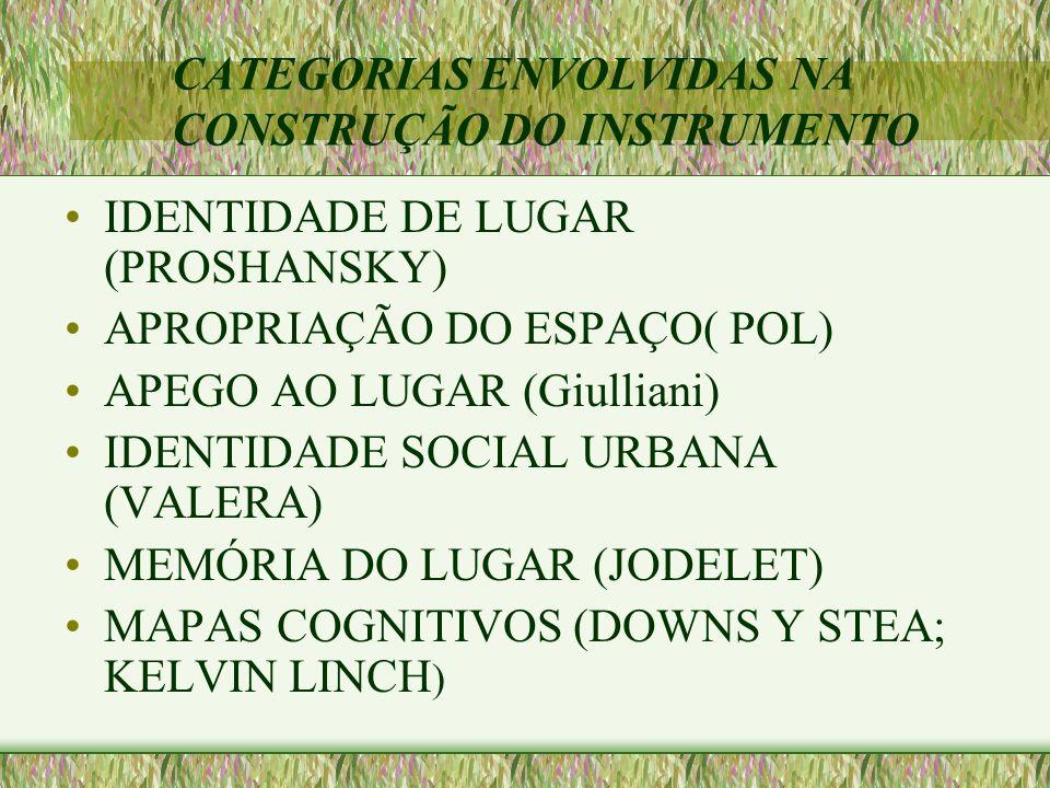 CATEGORIAS ENVOLVIDAS NA CONSTRUÇÃO DO INSTRUMENTO