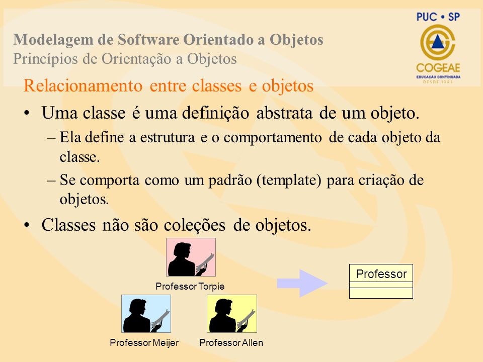 Relacionamento entre classes e objetos