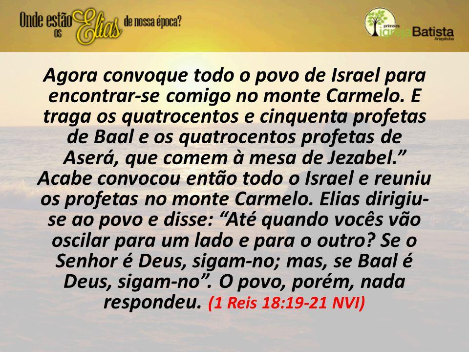 Agora convoque todo o povo de Israel para encontrar-se comigo no monte Carmelo.