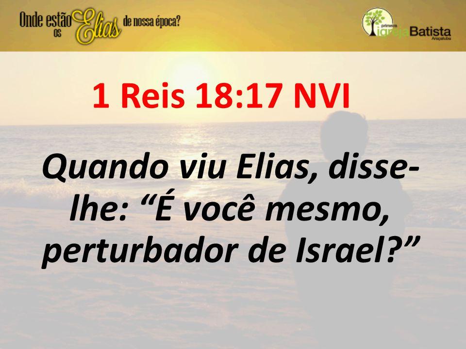 Quando viu Elias, disse- lhe: É você mesmo, perturbador de Israel