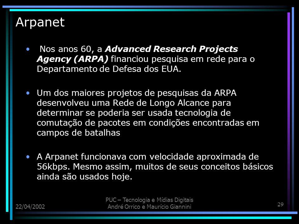 Arpanet Nos anos 60, a Advanced Research Projects Agency (ARPA) financiou pesquisa em rede para o Departamento de Defesa dos EUA.