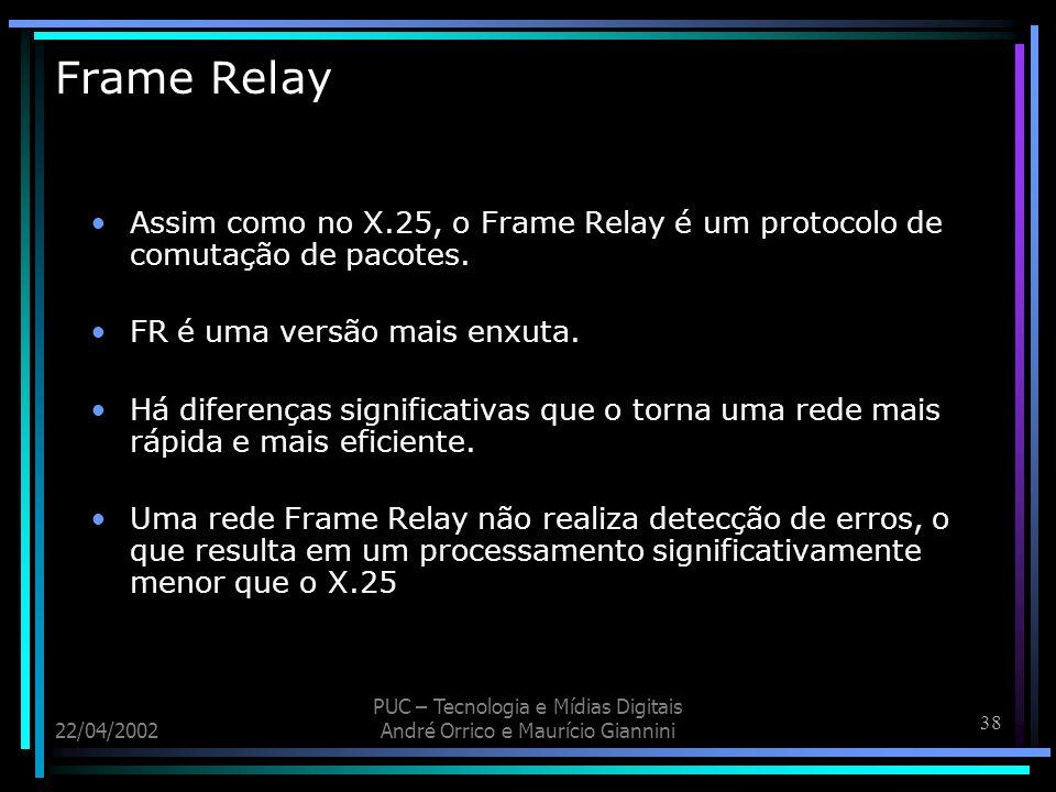 Frame Relay Assim como no X.25, o Frame Relay é um protocolo de comutação de pacotes. FR é uma versão mais enxuta.