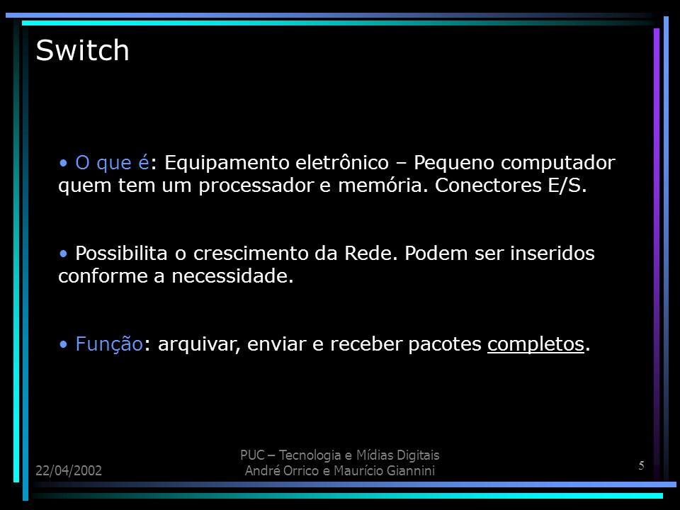 Switch O que é: Equipamento eletrônico – Pequeno computador quem tem um processador e memória. Conectores E/S.