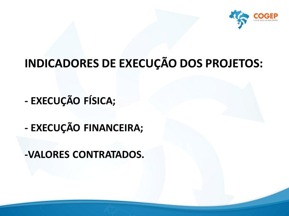 INDICADORES DE EXECUÇÃO DOS PROJETOS: - EXECUÇÃO FÍSICA; - EXECUÇÃO FINANCEIRA; -VALORES CONTRATADOS.