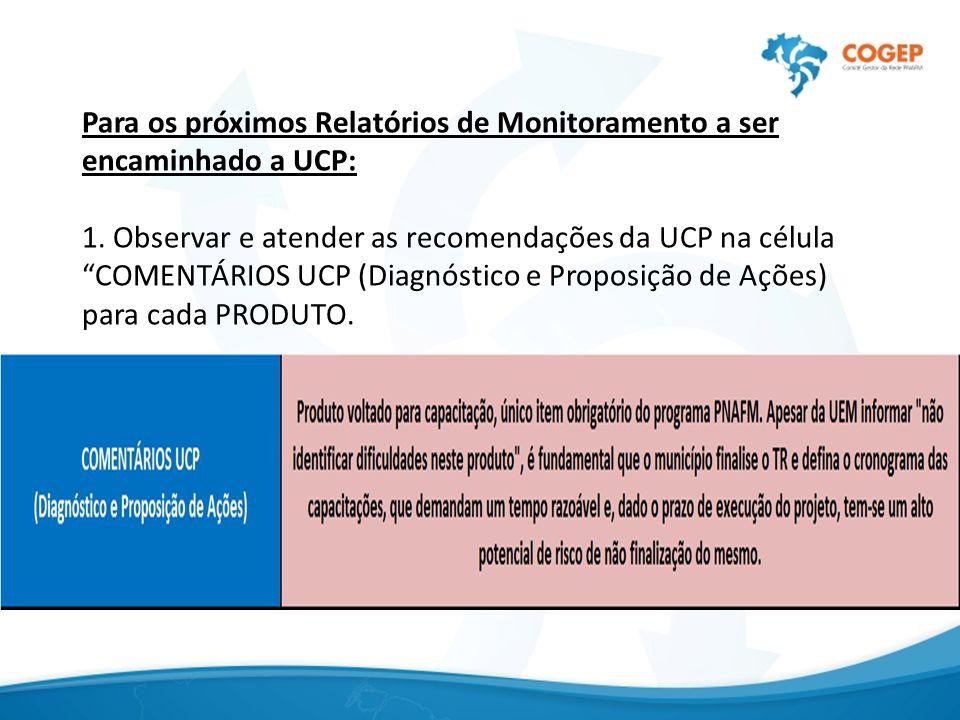 Para os próximos Relatórios de Monitoramento a ser encaminhado a UCP: 1.
