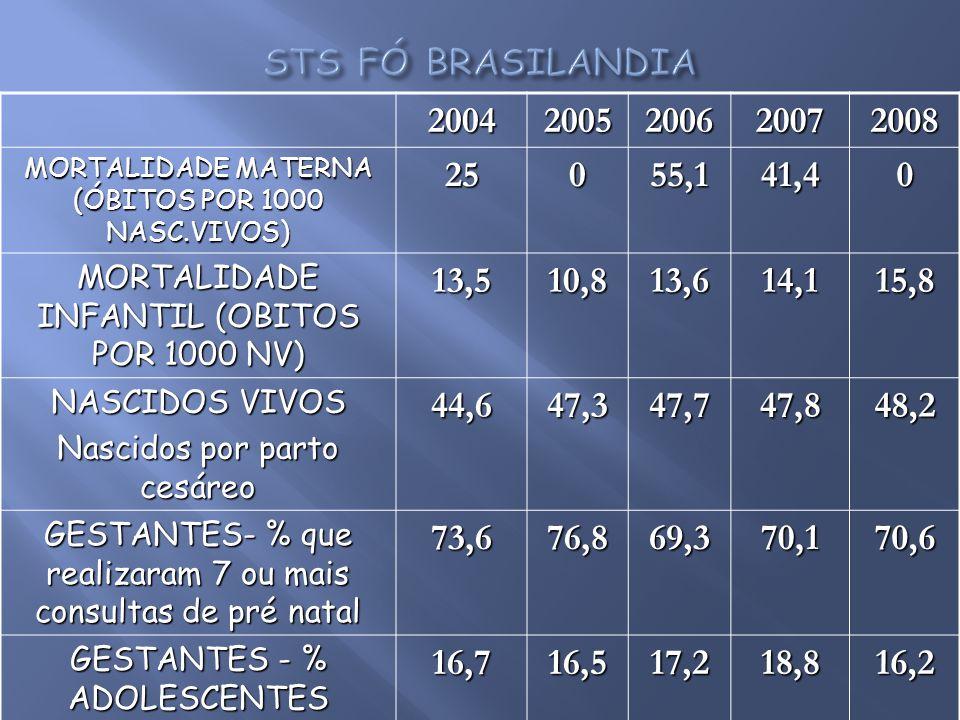 STS FÓ BRASILANDIA 2004. 2005. 2006. 2007. 2008. MORTALIDADE MATERNA (ÓBITOS POR 1000 NASC.VIVOS)