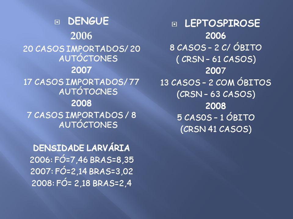 2006 DENGUE LEPTOSPIROSE 2006 20 CASOS IMPORTADOS/ 20 AUTÓCTONES