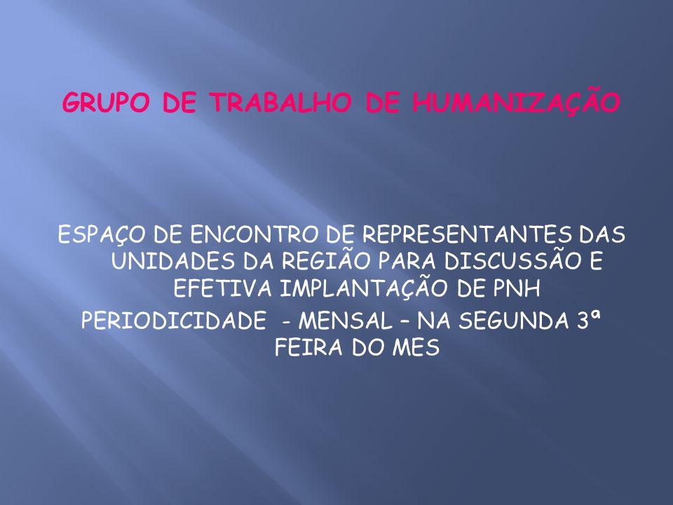 GRUPO DE TRABALHO DE HUMANIZAÇÃO