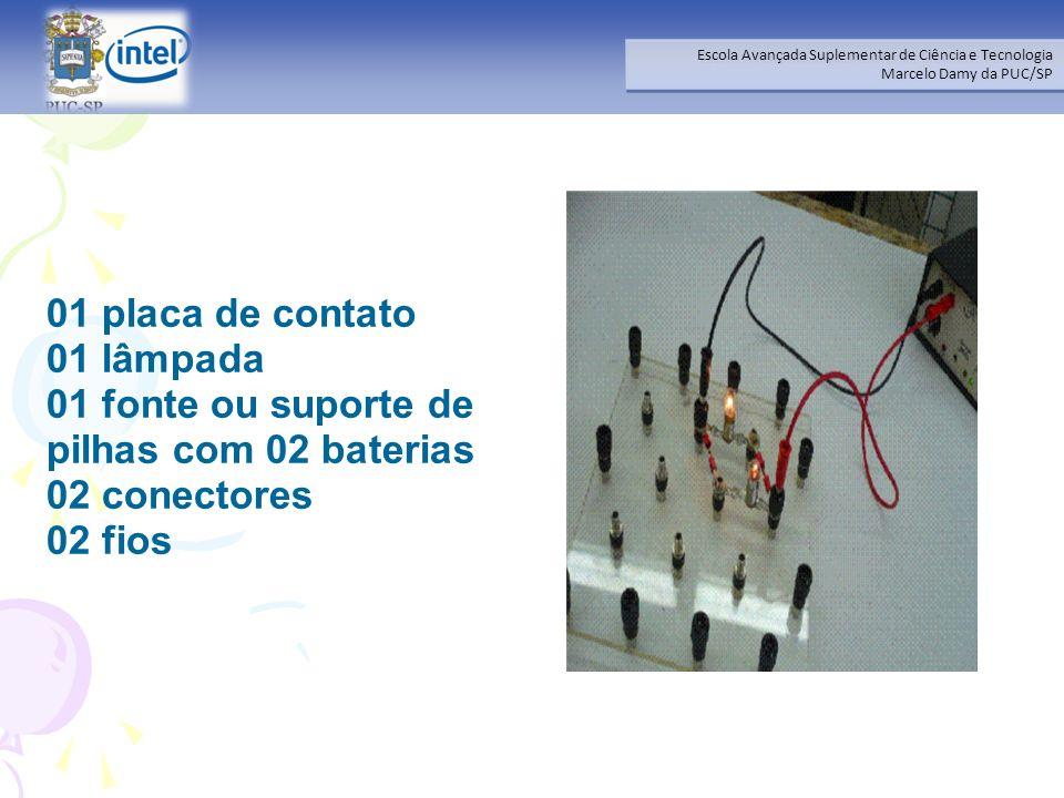 01 placa de contato 01 lâmpada 01 fonte ou suporte de pilhas com 02 baterias 02 conectores 02 fios