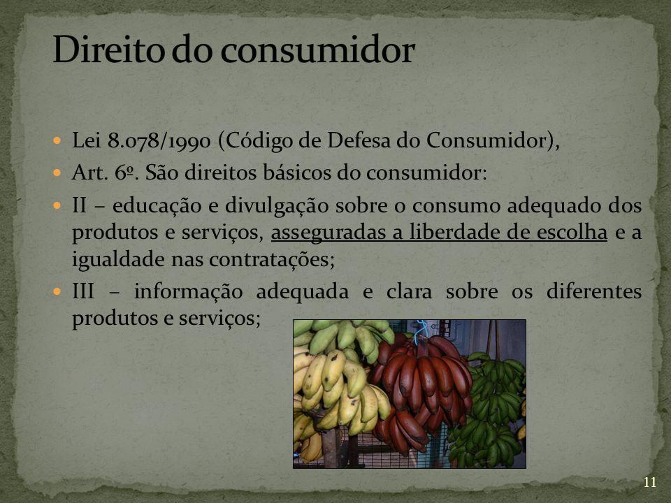 Direito do consumidor Lei 8.078/1990 (Código de Defesa do Consumidor),