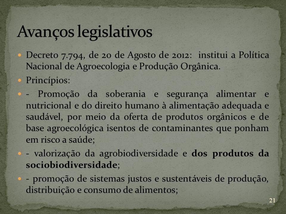 Avanços legislativos Decreto 7.794, de 20 de Agosto de 2012: institui a Política Nacional de Agroecologia e Produção Orgânica.