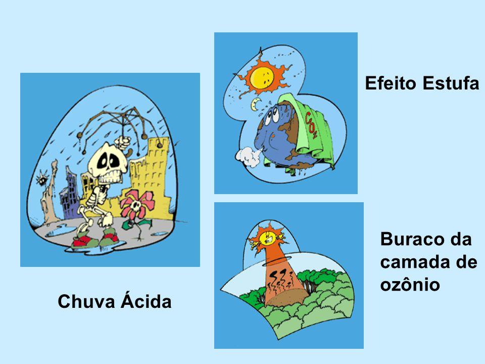 Efeito Estufa Buraco da camada de ozônio Chuva Ácida
