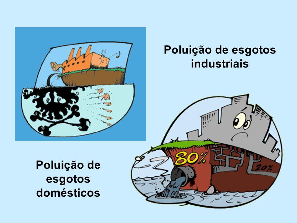 Poluição de esgotos industriais Poluição de esgotos domésticos
