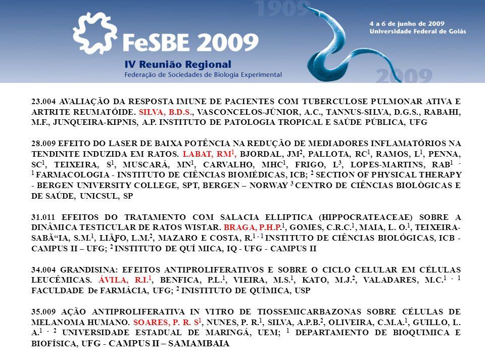 23.004 AVALIAÇÃO DA RESPOSTA IMUNE DE PACIENTES COM TUBERCULOSE PULMONAR ATIVA E ARTRITE REUMATÓIDE. SILVA, B.D.S., VASCONCELOS-JÚNIOR, A.C., TANNUS-SILVA, D.G.S., RABAHI, M.F., JUNQUEIRA-KIPNIS, A.P. INSTITUTO DE PATOLOGIA TROPICAL E SAÚDE PÚBLICA, UFG