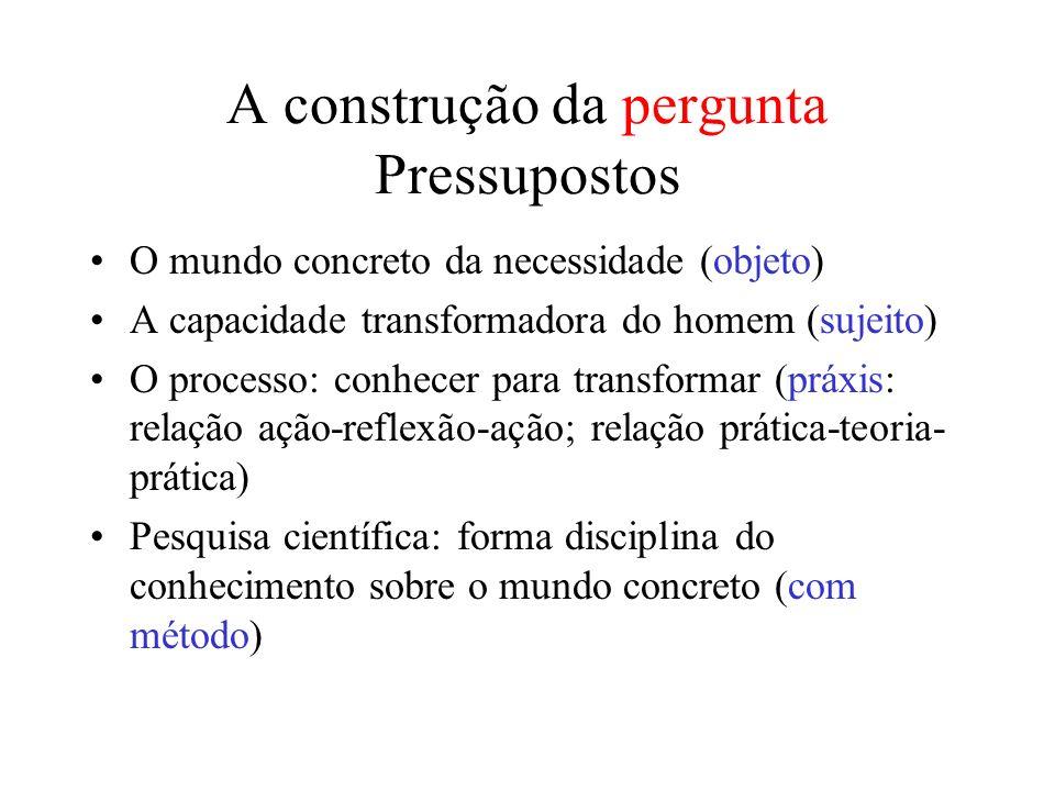 A construção da pergunta Pressupostos