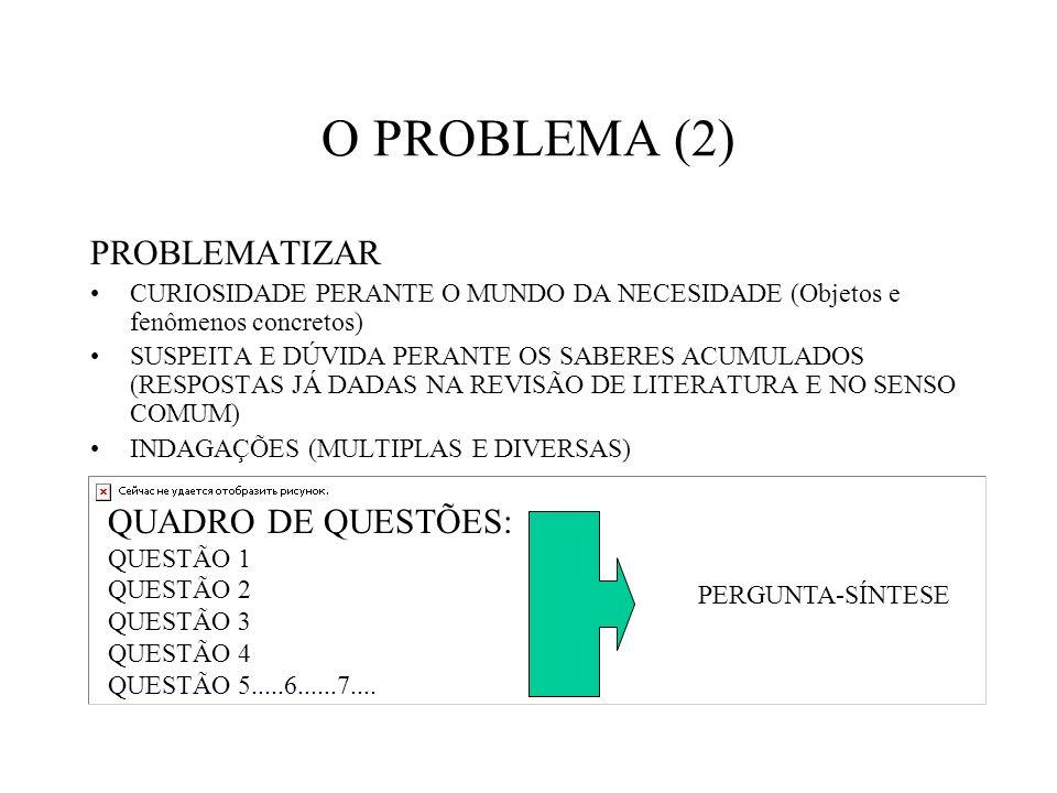 O PROBLEMA (2) PROBLEMATIZAR QUADRO DE QUESTÕES: